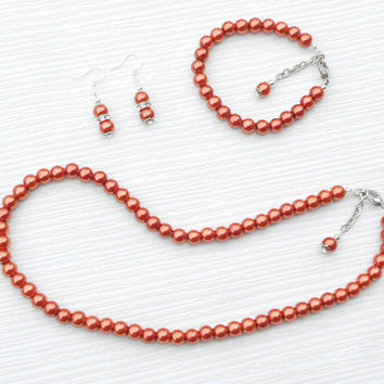 Copper color set, Pearl set, Pearl necklace, Wedding set, Bridesmaid jewelry, Teacher gift, Birthday gift,  Pearl gift, Bridesmaid gift,