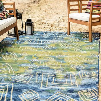 7136 Blue Green Abstract Contemporary Area Rugs