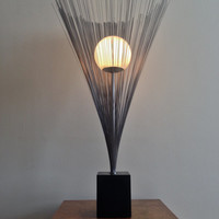 Mid Century Modern Sculptural Metal Wire Spray Table Lamp Chrome With Globe Shade In the Style of Harry Bertoia c.1970