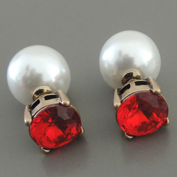 Ear Jackets - Jacket Earrings - Rhinestone Earrings - Ruby Red Earrings - Crystal Ear Jackets - Pearl Earring - Stud Earrings - Trending