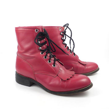 Red Roper Boots Vintage 1980s Leather Granny Lace up Packer Justin men's size 4 D Women's 5 1/2