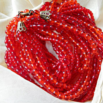 Remarkable Multi Strand Artisan Bead Necklace Red And Orange 6 Strand 1930s Torsade