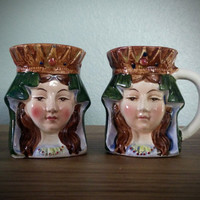 Antique Japan toby mug and jug pair, Victorian lady head cup, Miniature toby jug, character mug