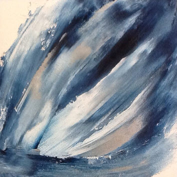 Large Abstract Painting Blue And Silver