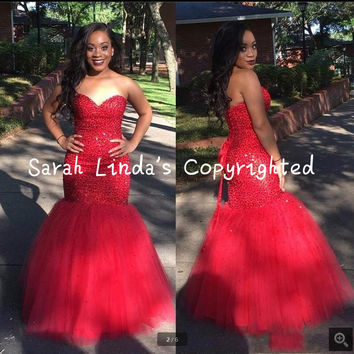 Vestidos De Baile Sexy red Mermaid Prom Dresses straples heavily beading crystals prom dress shiny long prom gowns hot sale
