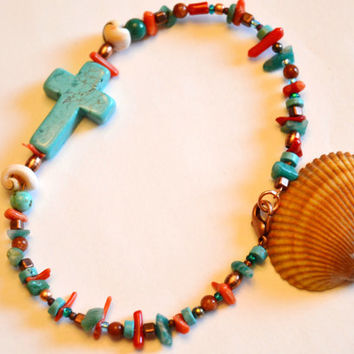 Cross anklet, turquoise anklet, Christian jewelry, turquoise and coral, shell ankle bracelet, Montana made, turquoise cross, bridesmaid gift