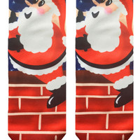 Santa Climbing Chimney Ankle Socks