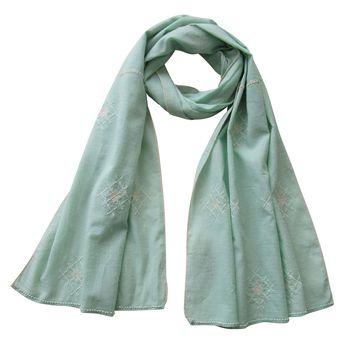Embroidered Scarf : The PISTACHIO GREEN