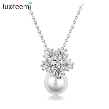 LUOTEEMI European Style Clear CZ Flower Pendant Big Imitation Pearl Necklace For Women Wedding Chain Jewelry White Color