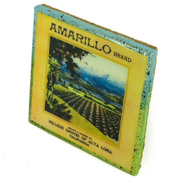 Amarillo Brand - Vintage Citrus Crate Label - Handmade Recycled Tile Coaster