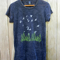 go take a hike Birds and Trees Burnout Tshirt in Black, S,M,L,XL