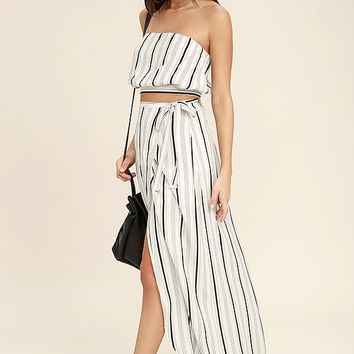 Vacay Bae Black and White Striped Wrap Maxi Skirt