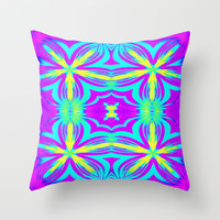 Lavender & Turquoise Flower Medley Throw Pillow by 2sweet4words