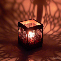 Wood and crochet candle holder - elegant home decoration by Woodstorming