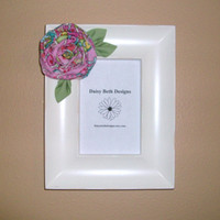 Shabby Cottage Style Frame Pink Flower by daisybethdesigns on Etsy