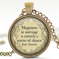 Jane Austen Quote Necklace, Happiness in Marriage Charm, Jane Austen Jewelry, Your Choice of Finish (1033)
