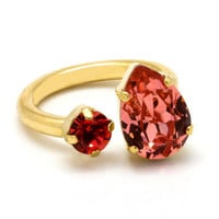24k gold plated adjustable ring with coral swarovski gems - Gift idea - Engagement ring