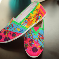 Hand painted Splatter Toms in Neon Colors... Made to Order