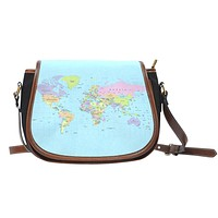 Geography Globe Saddle Bag