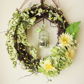 Wreaths, Hydrangeas, Daisies, Birdcage, Summer Wreaths, French Country, Grapevine Wreaths, Wreath, Front Door Wreaths, Shabby Chic Décor
