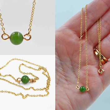 Vintage Krementz Chrysoprase Choker Necklace, Green, 12K Yellow Gold Filled, Cable Chain, Delicate, Minimalist, So Pretty! #c323