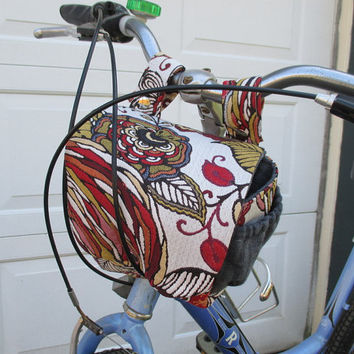 Bicycle Bag , Bike Bag Converts To A Purse ,  Modern Floral , Handlebar Bike Bag Bicycle