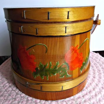 Folk Art Wood Firkin Bucket Hand Painted Red Poppies Green Flora Vintage