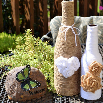 Twine / yarn wrapped bottles / Upcycled / Hearts and Roses