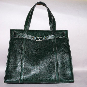 Authentic Valentino Extra Large Dark Green Shoulder Tote