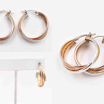Vintage Tri Color Sterling Silver Triple Hoop Pierced Earrings, Gold Vermeil, Rose, Yellow & White, Twisted, Interlocked, Hoops #c447