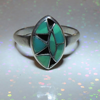 Navajo Sterling Silver Onyx Turquoise Inlay Ring
