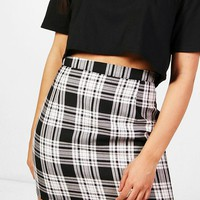 Lily Woven Large Check A Line Mini Skirt | Boohoo