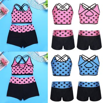 2Pcs Kids Tank Top with Bottoms Sport Cross Strap Bra Tops Black Shorts Girl Tankini Underwear Girls Sets Clothing for Dance Gym