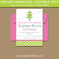 Christmas Birthday Invitation - PRINTABLE Holiday Birthday Party Invite - Girl Christmas Invitation - First Christmas - 1st Christmas C1