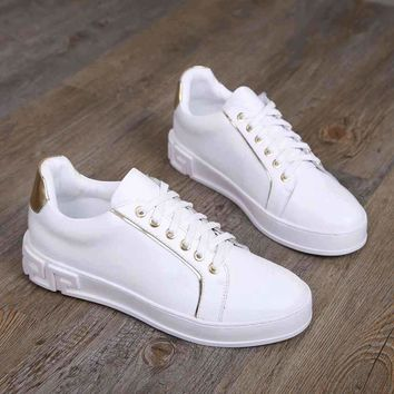 Versace White/gold Fashion Casual Women Men Sneakers Sport Shoes