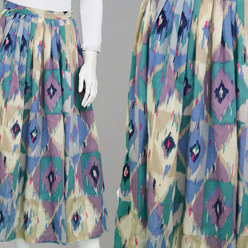 Vintage 70s JAEGER Wool Skirt Midi Skirt Boho Skirt Festival Skirt High Waisted Skirt Aztec Print Designer Skirt Made in England Tribal