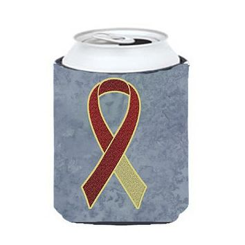 Burgundy and Ivory Ribbon for Head and Neck Cancer Awareness Can or Bottle Hugger AN1218CC