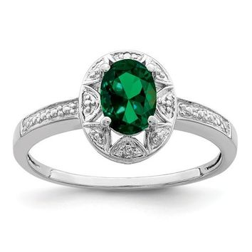 Sterling Silver Created Emerald & Diamond Accented Ring