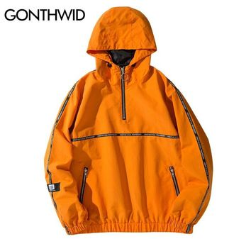 Trendy GONTHWID Ribbon Pullover Tracksuit Hoodie Jackets 2018 Spring Autumn Hip Hop Half Zip Windbreaker Jacket Coat Fashion Streetwear AT_94_13