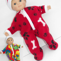 "American Girl Bitty Baby Clothes 15"" Doll Clothes 1 Polar Fleece Red Dinosaur or Paw Print Dog Bone Zip Pajamas & Hat"