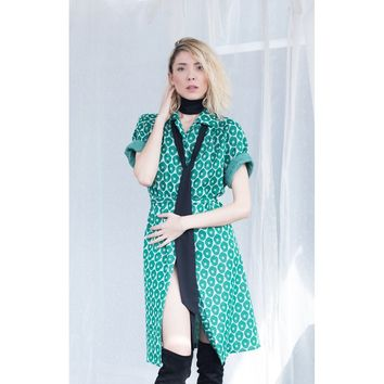 Vintage Green Flower Print Polyester Trench Coat-dress