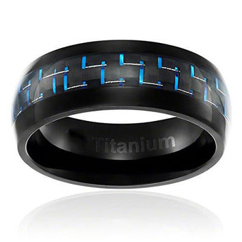 8MM Titanium Ring Wedding Band Black Plated with Black and Blue Carbon Fiber Inlay Domed Top | FREE ENGRAVING