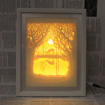 Silhouette paper cut Light box Night light Accent Lamp Christmas gift wedding birthday gift idea shadow box