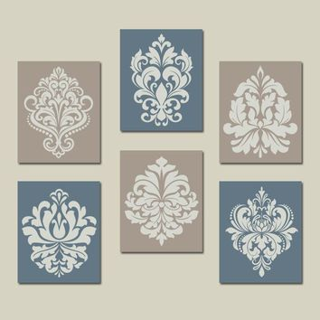 Beige Blue Wall Art, Bedroom Pictures, CANVAS or Prints, Bathroom Decor, Bedroom Pictures, Damask Wall Art, French Country Set of 6 Pictures