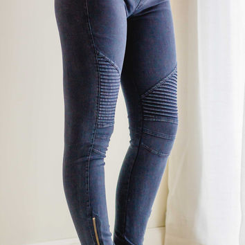 Moto Leggings | Navy