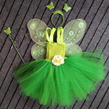 Princess Tutu Tinkerbell Tutu Dress outfit Birthday Costume special Occasion Green Fairy Princess Tutu Photo shoot TT041K