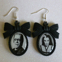 Herman and Lily Munster Inspired Cameo Earrings