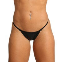 Black Metallic Breakaway Scrunch Thong With Swarovski Rhinestone Clips