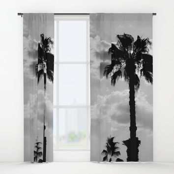 Palm Trees In Black And White Window Curtains by ARTbyJWP