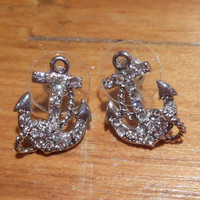 Silver Anchor Earrings with rope - Earrings - Rhinestone Anchor Earrings